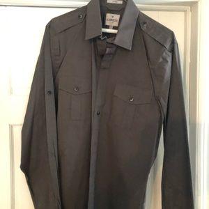 Men's Express Grey Button Down Dress Shirt